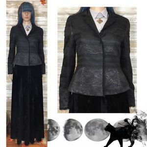 Albert Nipon Evening Black Silk Lace Jacket